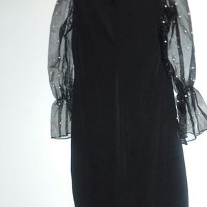 Women's Elegant Mesh Pearl Bodycon Dress